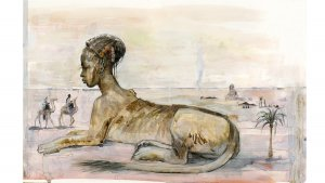 Les Animaux Fantastiques illustrés par Olivia Lomenech Gill : un sphinx