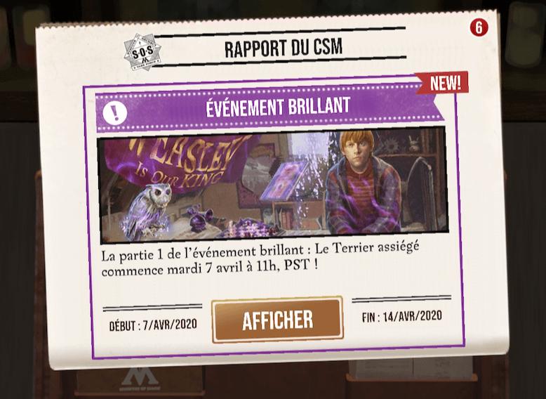 Le Terrier assiégé, partie 1 de l'événement brillant